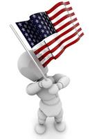 Person waving American flag